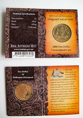 2008 $1 Australia/'s Original Coat of Arms Dollar Australian Coin B Privymark