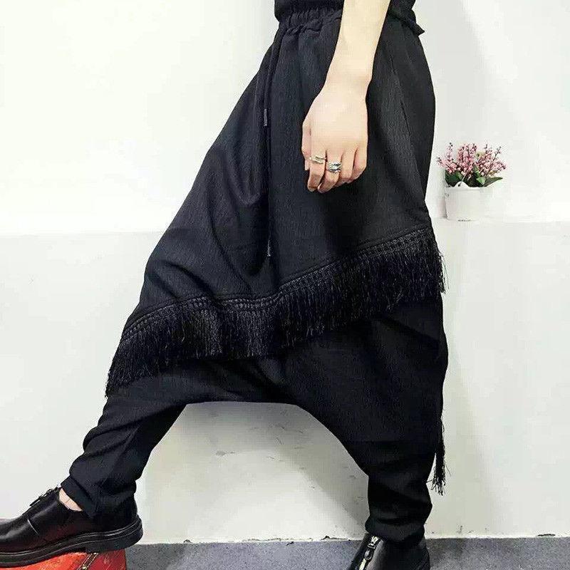 Fashon Men's Loose Casual Harem Pants Japanese Nightclub Punk Hip Hop Trousers