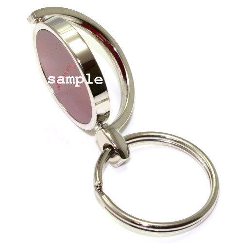 Blue Mopar Logo Brushed Metal Round Spinner Chrome Key Chain Spin Ring