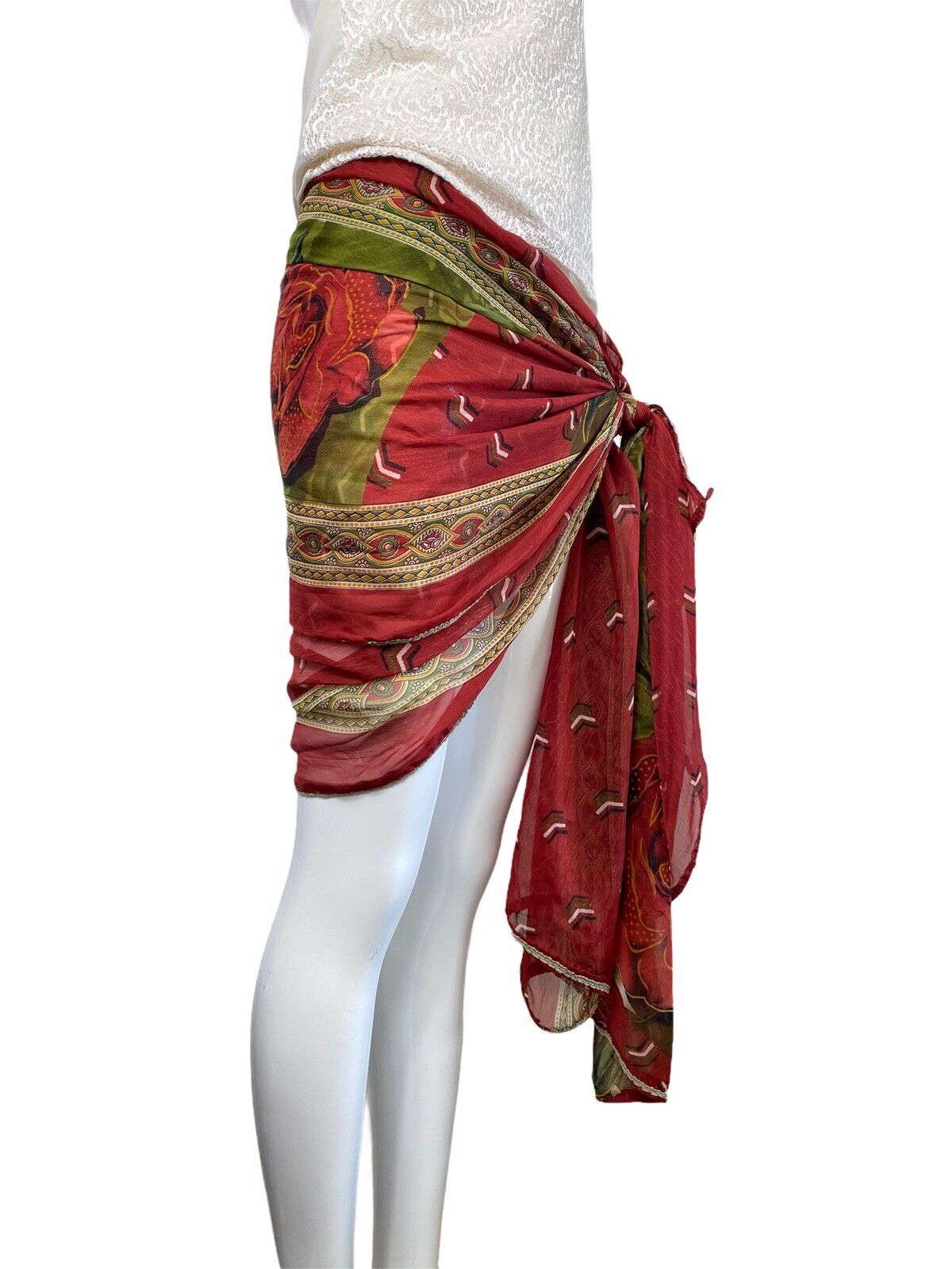 Vintage 80s 90s Overdize Floral Scarf Wrap Skirt … - image 2