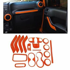 Image Is Loading 18pcs Orange Interior Accessories Trim For Jeep Wrangler