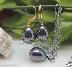 A-Set-Genuine-12x16mm-Rainbow-Black-South-Sea-Shell-Pearl-Drop-Earrings-Necklace