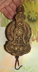 Ancienne-Poulie-XIX-eme-Fleur-de-Lys-N-4-L-T-Napoleon-III-Metal-bronze