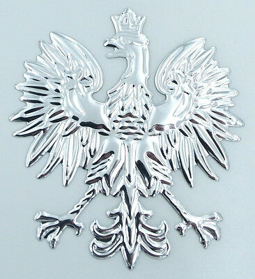 "Poland 2.5/"" Polish Polski Eagle with Golden crown Chrome 3D Emblem Decal  Polska"