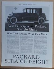 1923 magazine ad for Packard  - New Principles in Straight Eight, What they are
