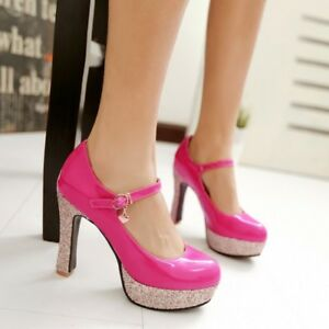 Ladies-High-Heels-Round-Toe-Pumps-Patent-Leather-Wedding-Shoes-Pumps-New-Size