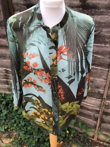 Floral-Blouse-Button-Hem-Mid-Sleeve-Casual-Size-1O-Autumn-Colours