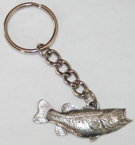 Largemouth Bass Fish Pewter Keychain