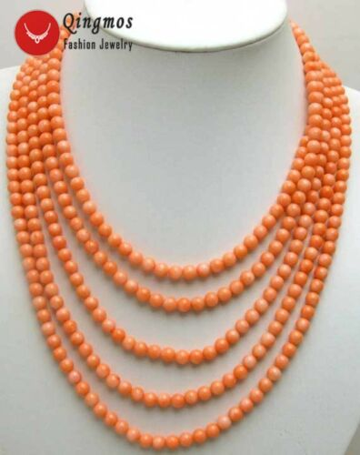 Natural Pink 6-7mm Round Coral 5 Strands Chokers Necklace for Women Jewelry-5691