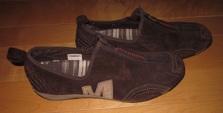 Women's Merrell Barrado Leather Chestnut Suede Slip on Loafers 9 M