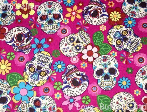 ROSE /& HUBBLE CERISE SUGAR SKULL Dia de Muertos FABRIC 100/% COTTON FAT QUARTERS