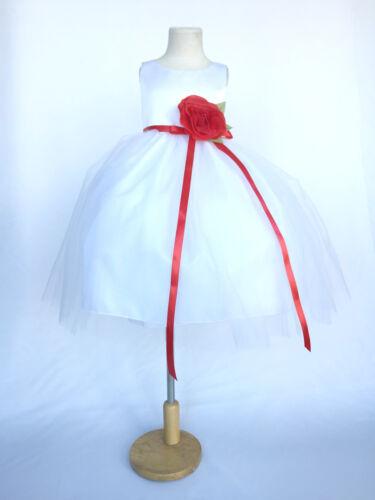 White Satin Tulle Dress Easter Wedding Flower Girl Bridesmaid Graduation Pageant