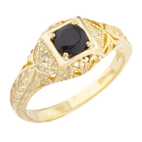 14Kt Yellow Gold Plated Genuine Black Onyx /& Diamond Round Ring