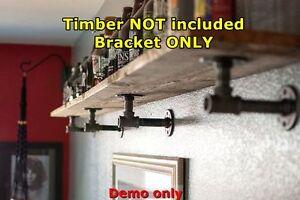 Silver Rustic Industrial Pipe Book shelf Shop Storage Bar Shelving Bracket BS005