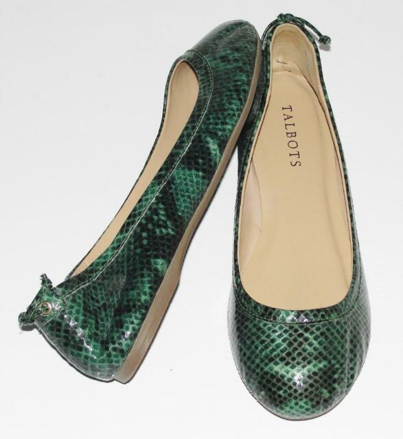 TALBOTS~$99 *JACKIE* SNAKESKIN ANIMAL PRINT~PATENT LEATHER~BALLET FLAT SHOES~7