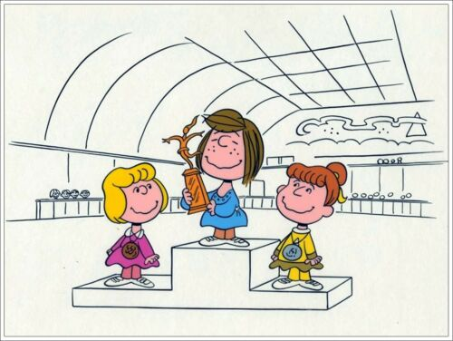 'PEANUTS' SHE'S A GOOD SKATE CHARLIE BROWN Animation Cel PEPPERMINT PATTY wCOA