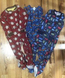 Lot-Of-3T-Fleece-Footed-Sleepers-Pajamas-Boys-Carters-And-Old-Navy