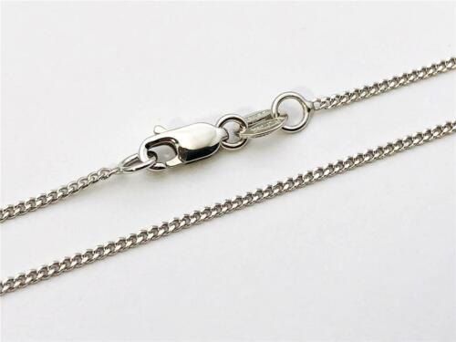 "14K 18/"" Inch 1mm Solid White Gold Gourmette Miami Cuban Necklace Pendant Chain"