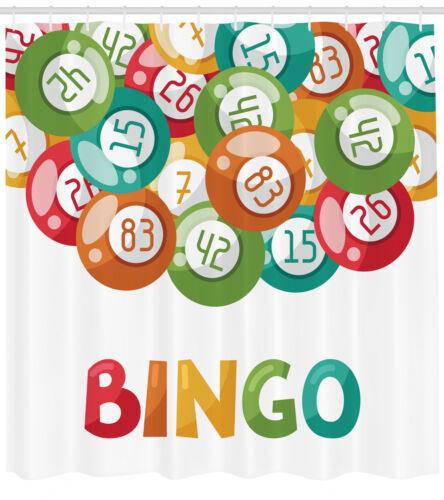 Bingo Shower Curtain Geometry Decor Set with Hooks 4 Sizes Ambesonne