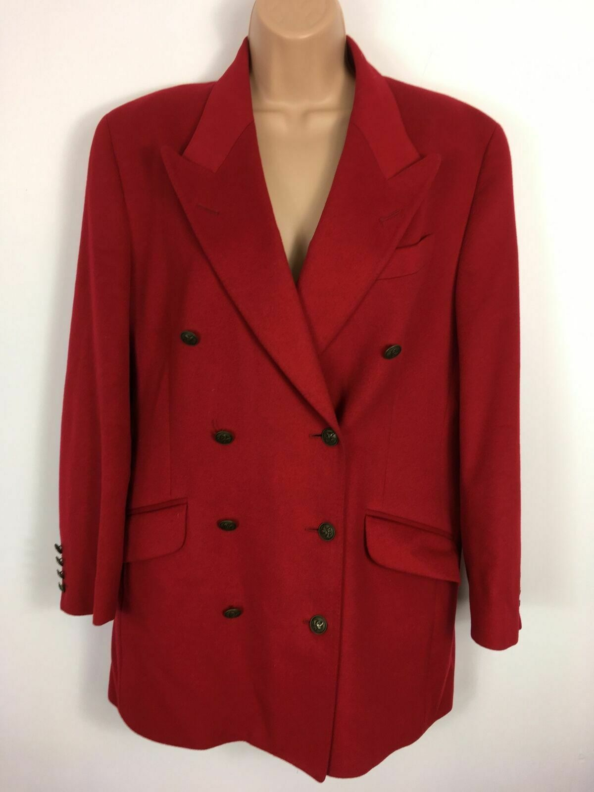 WOMENS AUSTIN REED RED WOOL DOUBLE BREASTED BUGLE BUTTON SMART WINTER COAT