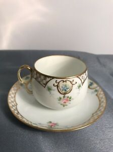 """Nippon tea / Coffee cup and saucer flowers & raised gold Hand Painted 5 1/2"""""""