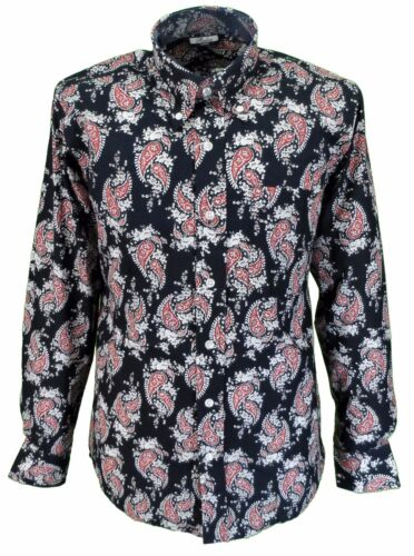 Relco Navy//Red//White Paisley Cotton Long Sleeved Retro Mod Button Down Shirts
