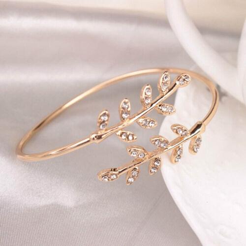 Bracelet cadeau Silver Fashion Jewelry Réglable Ouverture Bracelets Bracelets Jonc Feuille