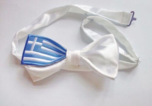 Hand Sewn Pre-tied Silk Bowtie /'greece,greek flag /' 2.5x4.9 inch cx