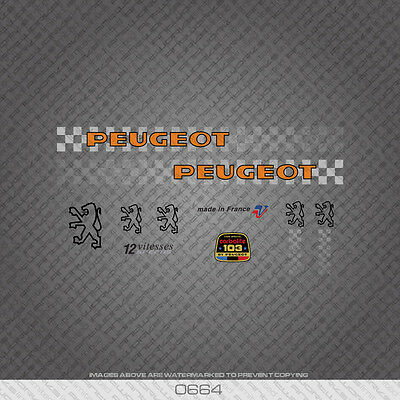 Transfers Decals 0664 Peugeot Bicycle Frame Tube Stickers Orange Text