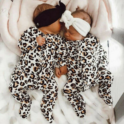 Infant Baby Boys/&Girls Long Sleeve Leopard Print Ruffles Romper Jumpsuit Clothes
