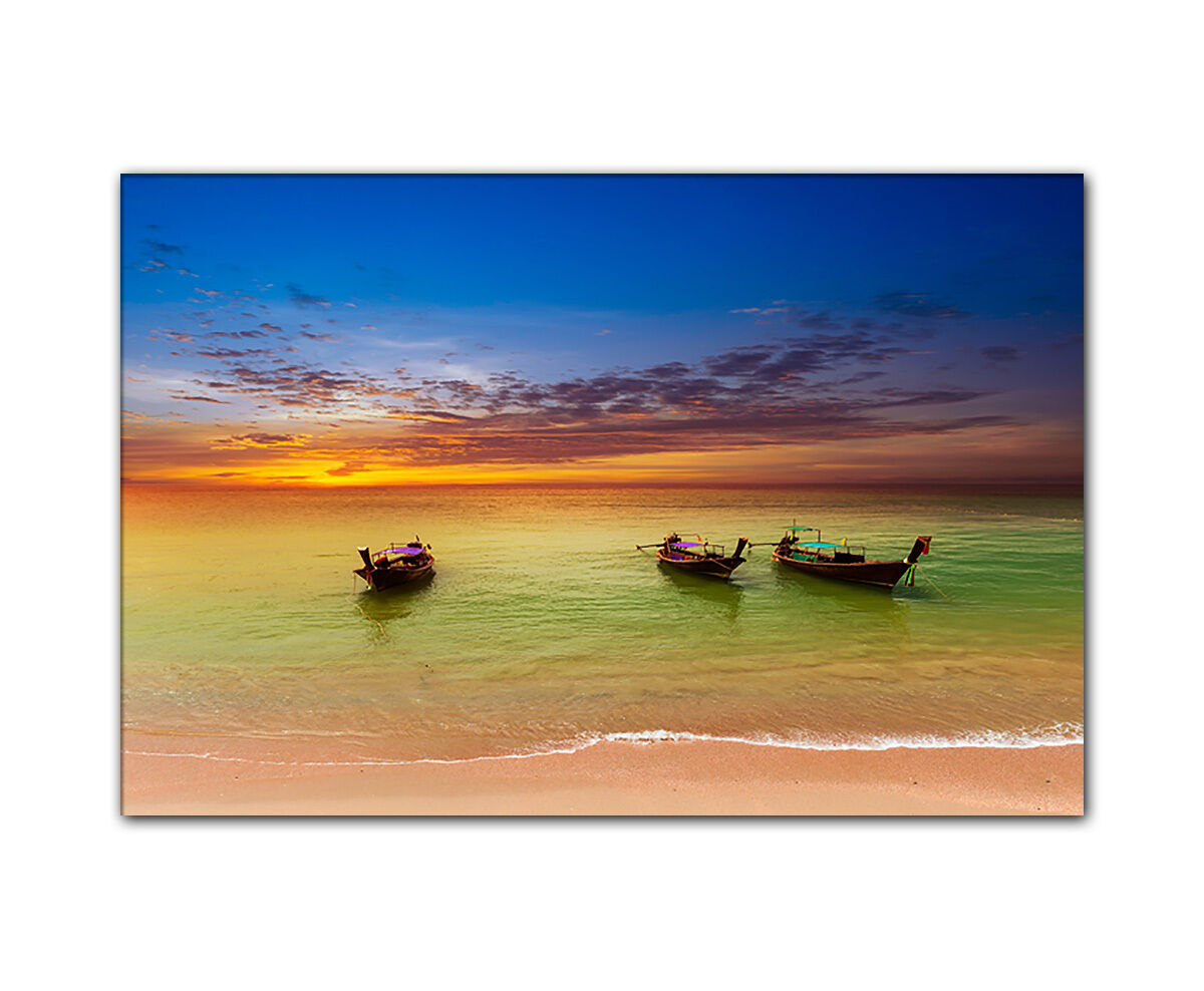 Wandbild Thailand Strand gerahmt XXL Natur Meer Stiefele Sonnenuntergang Leinwand