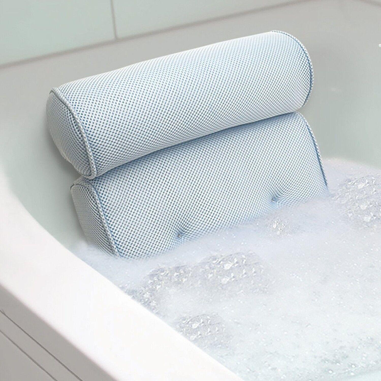"Ideaworks - Home Spa Bath Pillow, 14""x 13""x4"", Neck & Back C"
