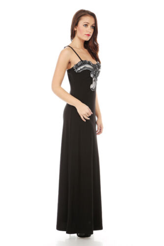 STUNNING COCKTAIL PARTY EVENING STRAPPY LONG MAXI BLACK DRESS SIZE S M L 379