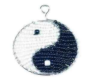 Beadworx-yin Yang Noir & Blanc-porte-clés - Perles Travail Populaire Perles De Verre-afficher Le Titre D'origine Techniques Modernes