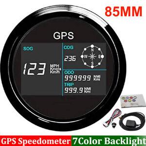 85mm Marine Boat Car GPS Speedometer Odometer Gauge 7Colors LED Waterproof 9-32V
