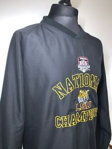 LSU Tigers Allstate BCS National Champions Black Pullover Windbreaker Top XL