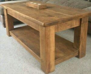 Solid Wood Chunky Coffee Table With Shelf Rustic Plank Pine Indigo Furniture Ebay