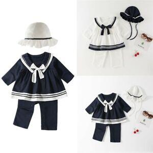 Newborn Infant Baby Girls Set Sailor Navy Romper Jumpsuit Hat Outfits Clothes