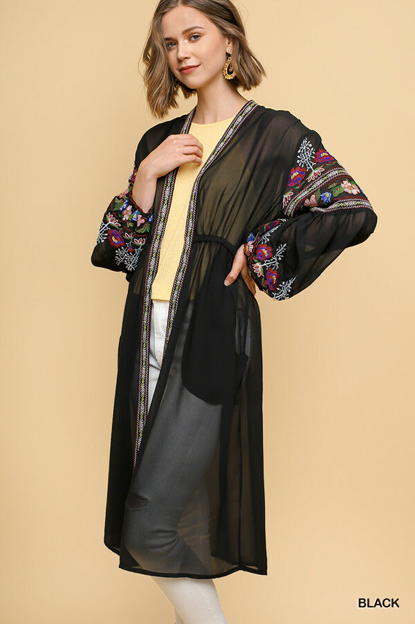 UMGEE Sheer Embroiderot Kimono Cardigan Duster Boho Sleeve Long Maxi Reg