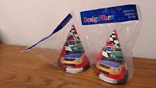 16 Cone Party HATS Kids Birthday Party Favors Supplies CHECKERED FLAG CARS PH2