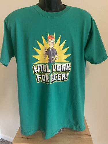 King Of The Hill 2005 WILL WORK FOR BEER Shirt Fox