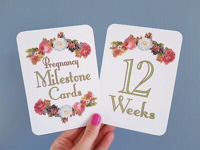 Vintage design Pregnancy Milestone cards photo prop pregnancy gift scrapbook