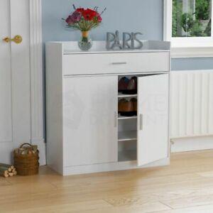 Dalby 2 Door 1 Drawer Shoe Cabinet Storage Footwear Cupboard Rack Stand White