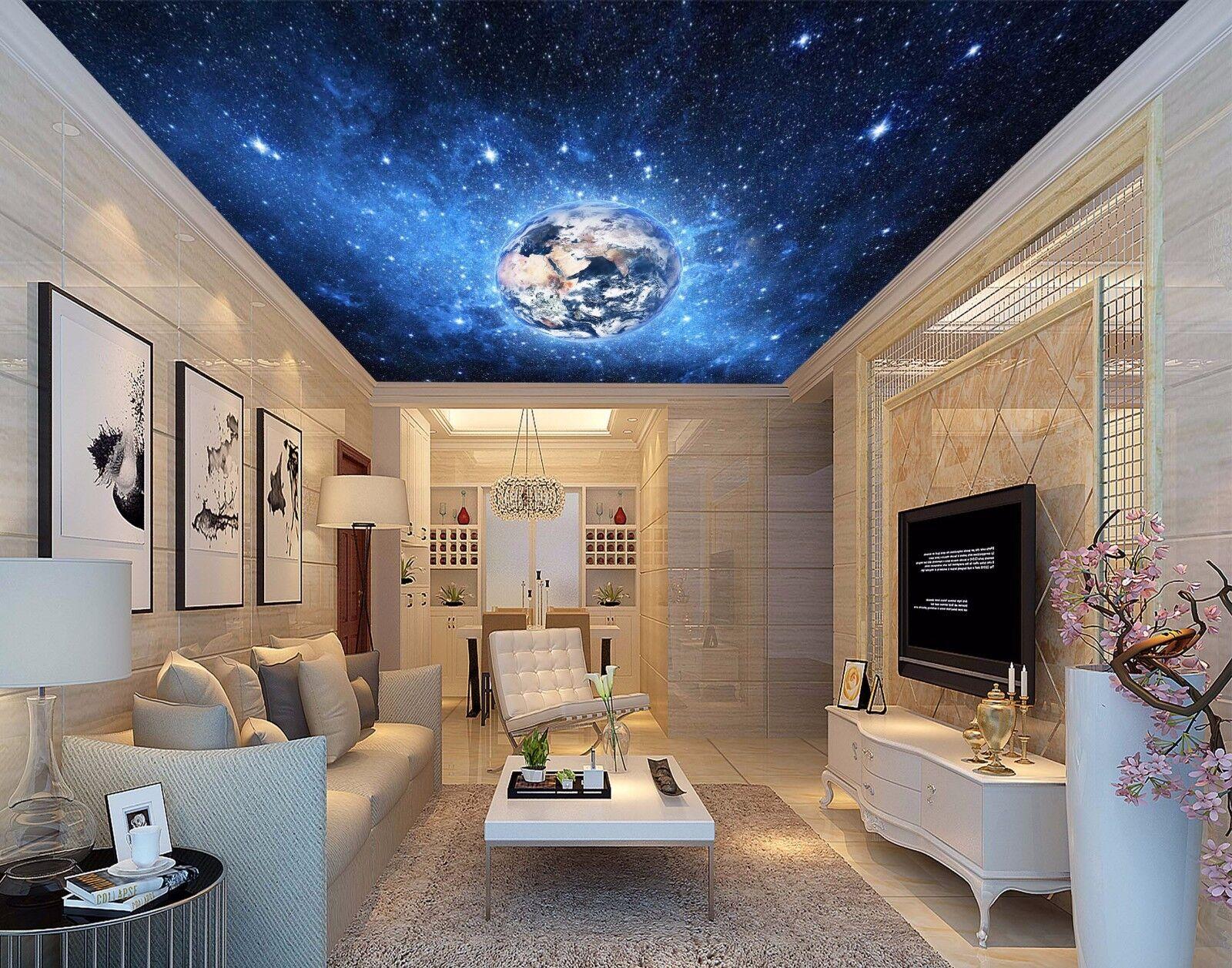 3D Earth Blau Starry Sky 42 Ceiling Wall Paper Print Wall Indoor Wall Murals CA