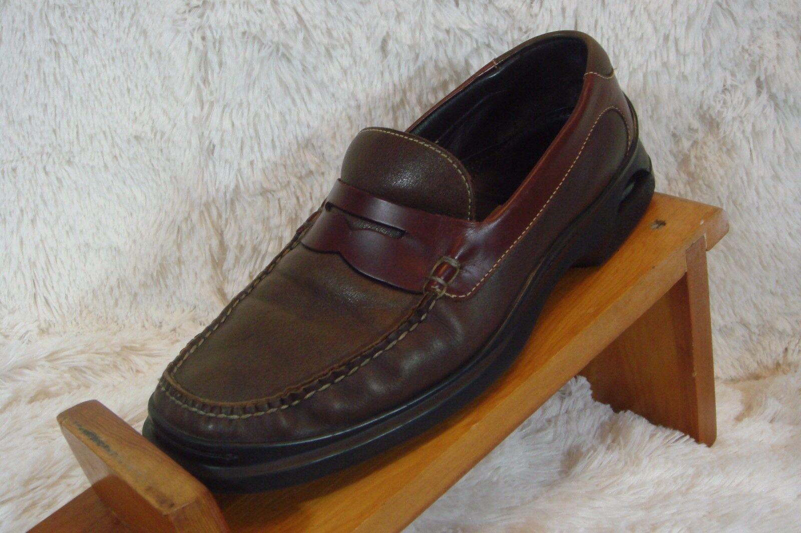 COLE HAAN India dos tonos de marrón Slip On NIK Cuero Zapatos M AIR