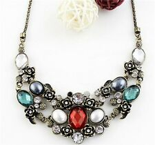 European Charm Delicate Gorgeous Flower Leaves Rhinestone Pearl Pendant Necklace