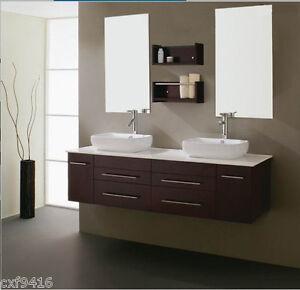 Wall mount floating 60 inch double sink bathroom vanity - 54 inch double sink bathroom vanity ...