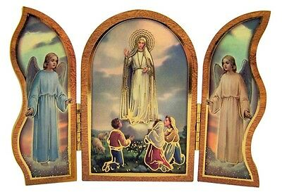 Gold Embossed Our Lady of Fatima Icon Folding Wooden Triptych, 3 1/2 Inch