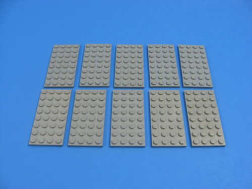 Lot 10 LEGO Old Gray Standard Plate 4 x 8 studs Platform #3035