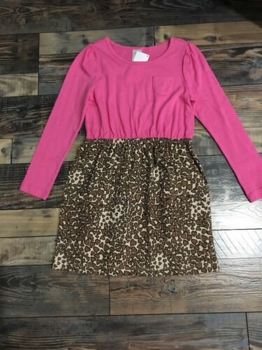 NWT Gymboree Girls Pink Heart Leopard Print Knit LS Dress NEW Size 7